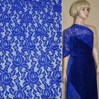 Кружевное полотно стрейчевое розы синее ш.150 оптом