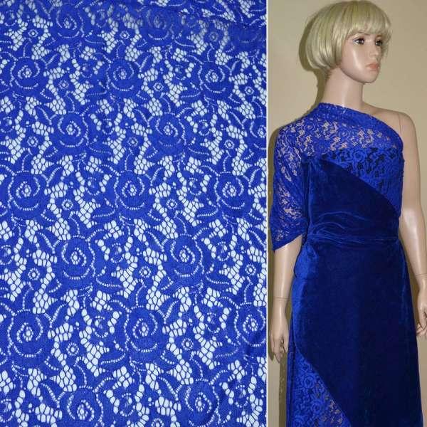 Кружевное полотно стрейч розы синее ш.150 оптом
