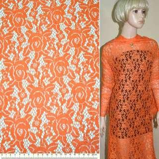 Кружевное полотно стрейчевое розы оранжевое ш.150 оптом