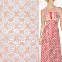 Кружевное полотно стрейч круги с цветами персиковое ш.150