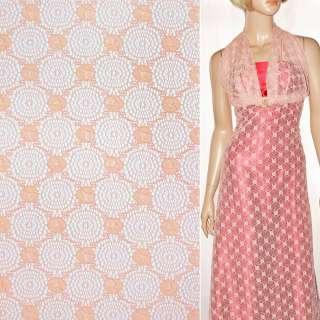 Кружевное полотно стрейчевое круги с цветами персиковое ш.150 оптом