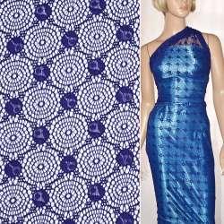 Кружевное полотно стрейч круги с цветами синее ш.156