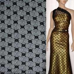 Кружевное полотно стрейч круги с цветами черное ш.150