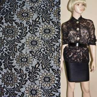 Кружевное полотно стрейч черное с золотым люрексом веточка с цветами ш.15 оптом