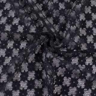 Гипюр стрейч черный, ромбы с цветами, ш.150 оптом