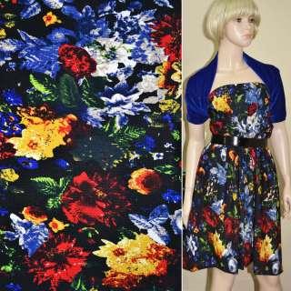 Микродайвинг черный с красно-синими цветами ш.170 оптом