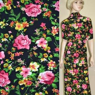 Микродайвинг черный с розово-желтыми цветами ш.165 оптом