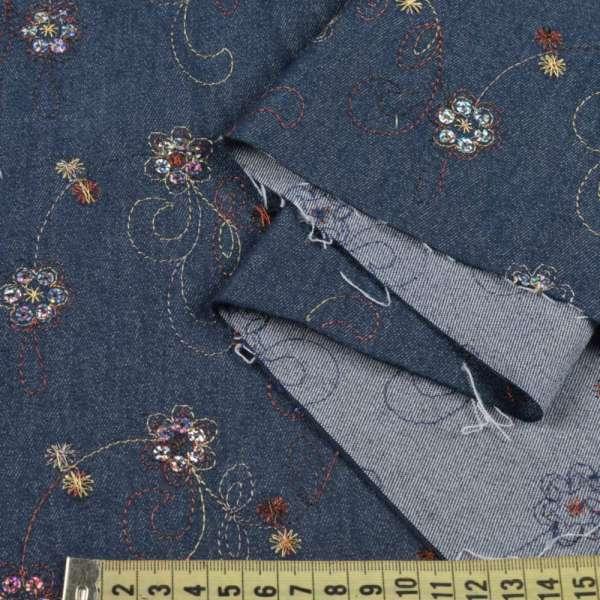 Коттон стрейч синий темный с бежевой вышивкой и пайетками оптом