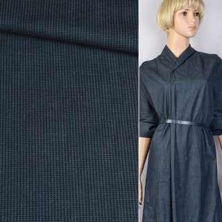 Джинс синий в черную полосу-штрихи ш.145 оптом