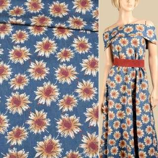 Джинс синий в бежево-коричневые цветы, ш.150 оптом