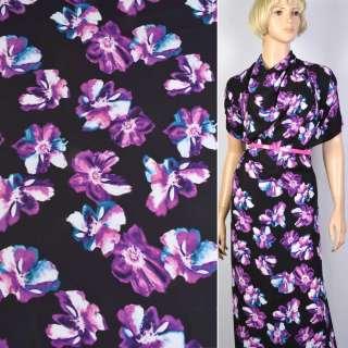 Креп черный в фиолетовые цветы ш.150 оптом