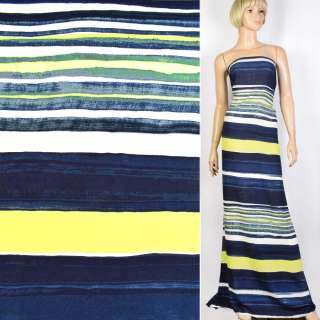 Креп синий в черно-бело-желтую полосу ш.150 оптом