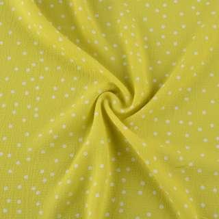 Креп стрейч жовто-зелений в білий горох ш.150 оптом