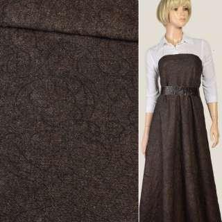 Шерсть дублированная коричнево-бежевая с черной вышивкой, ш.143 оптом