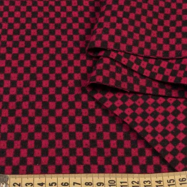 Жаккард двухсторонний в черно-красную клетку с точкой, ш.148 оптом