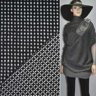 Тканина костюмна 2-ст. чорна в білий горох + клітка ш.150 оптом