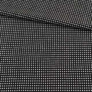 Ткань костюмная 2-ст. черная в белый горох+клетка ш.150 оптом