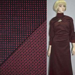 Тканина костюмна 2-ст. чорна в червоний горох + клітка ш.150 оптом
