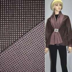 Ткань костюмная 2-ст. коричневая в розовый горох+клетка ш.150 оптом