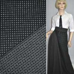 Ткань костюмная 2-ст. черная в серый горох+клетка ш.150