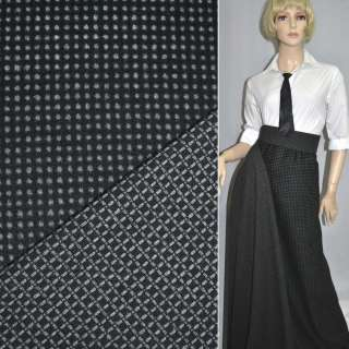 Тканина костюмна 2-ст. чорна в сірий горох + клітка ш.150 оптом