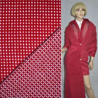 Тканина костюмна 2-ст. червона в білий горох + клітка ш.150 оптом