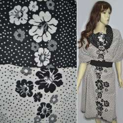 Жаккард костюмный 2-ст. молочно-черный с крапками и цветами (раппорт) ш.150 оптом