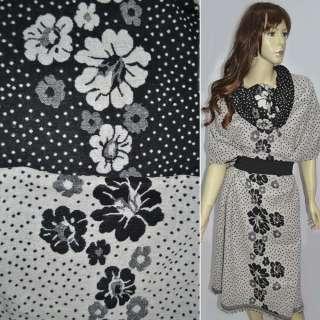 Жаккард костюмний 2-ст. молочно-чорний з крапками і квітами (раппорт) ш.150 оптом