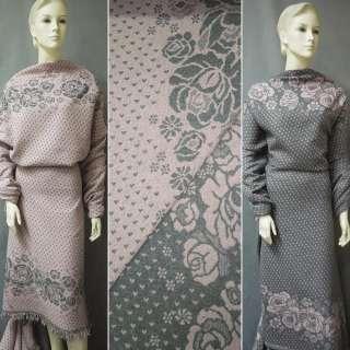 Жаккард костюмний 2-ст. рожево-сірий з 2-ст. купоном квіти ш.150 оптом
