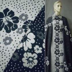 Жаккард костюмный 2-ст. молочно-синий с цветами и крапками (раппорт) ш.150 оптом