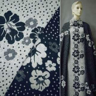 Жаккард костюмний 2-ст. молочно-синій з квітами і крапками (раппорт) ш.150 оптом