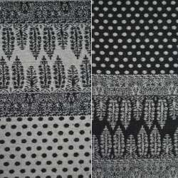 Жаккард костюмный 2-ст. черно-молочный с 2-ст купоном орнамент + крапки ш.150 оптом