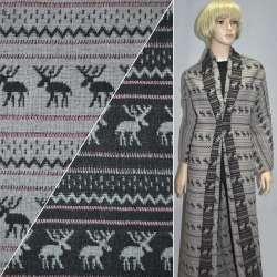 Жаккард костюмный серо-черный с оленями ш.150