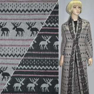 Жаккард костюмний сіро-чорний з оленями ш.150 оптом