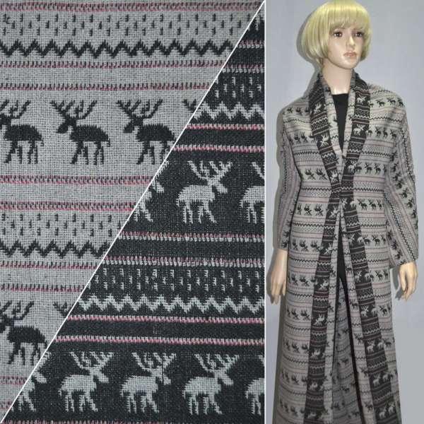 Жаккард костюмный серо-черный с оленями ш.150 оптом
