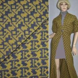 Жаккард костюмный желтый с серым зигзаг ш.150