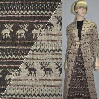 Жаккард костюмний бежево-коричневий з оленями ш.150 оптом