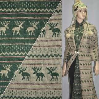 Жаккард костюмний бежево-зелений з оленями ш.150 оптом