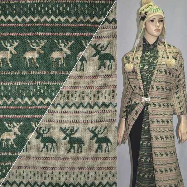 Жаккард костюмный бежево-зеленый с оленями ш.150 оптом