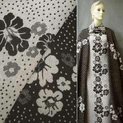 Жаккард костюмный 2-ст. коричнево-молочный с цветами и кружочками ш.150