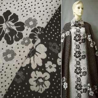 Жаккард костюмний 2-ст. коричнево-молочний з квітами і кружечками ш.150 оптом