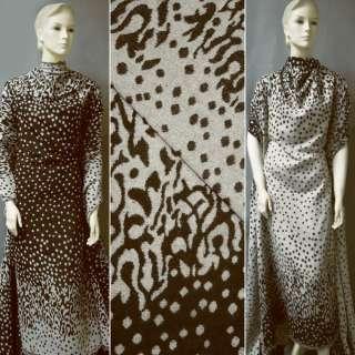 Жаккард костюмный 2-ст. коричнево-молочный с 2-ст. купоном в абстрактный рисунок ш.150 оптом