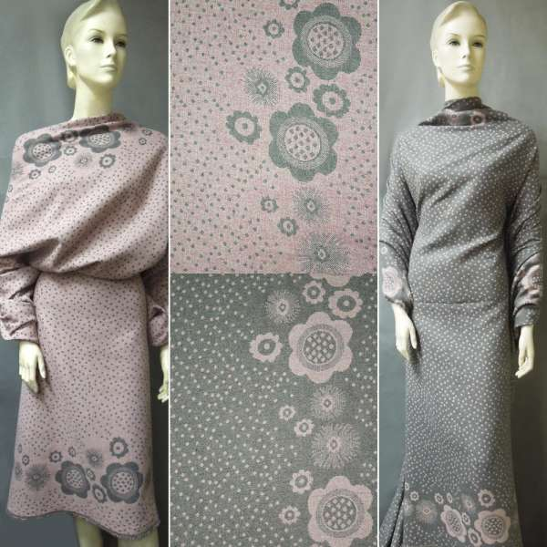 Жаккард костюмный 2-ст. серо-розовый с 2-ст. купоном цветы + крапки ш.150 оптом