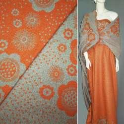 Жаккард костюмный 2-ст. оранжево-серый с 2-ст. купоном цветы + крапки ш.150