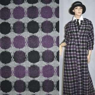 ткань костюм. св/серая в сиренево-черные круги ш.150 оптом