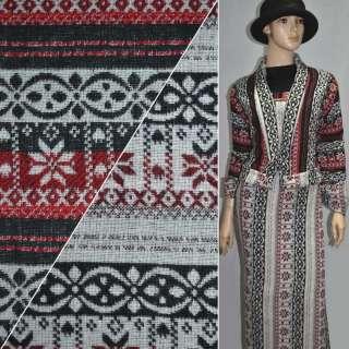 ткань костюм. черно-красная в полоски с орнаментом ш.1 оптом