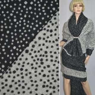 ткань костюм. 2-х стор. черно-белая в горох ш.150 оптом