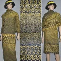 Жаккард костюмный 2-ст. желто-серый с 2-ст. купоном ромашки ш.150 оптом