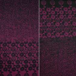 Жаккард костюмный 2-ст. черно-вишневый с 2-ст. купоном ромашки ш.150 оптом