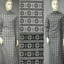 Жаккард костюмный 2-ст. молочно-серый в полосы с орнамент. ш.150 оптом